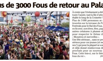 Plus de 3000 Fous de retour au Palais