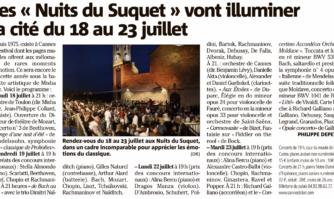 Les Nuits du Suquet vont illuminer la cité du 18 au 23 juillet