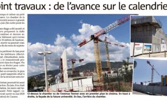 Point travaux Université de Cannes : de l'avance sur le calendrier