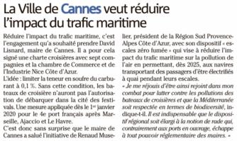 La Ville de Cannes veut réduire l'impact du trafic maritime