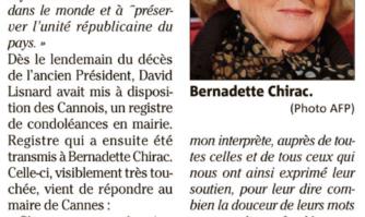 Émue, Bernadette Chirac remercie le Maire de Cannes David Lisnard après la mort de l'ancien Président