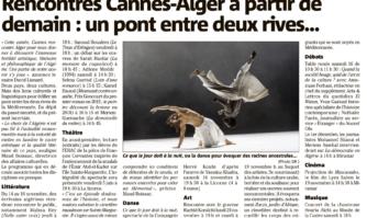 Littérature, danse, débats... voici le programme des rencontres Cannes-Alger