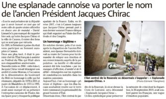 Une esplanade de Cannes va porter le nom de l'ancien Président Jacques Chirac