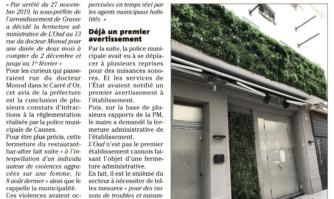Un sixième établissement fermé pour nuisances au Carré d'Or à Cannes