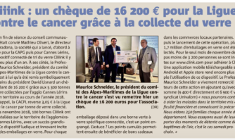 Cliiink : un chèque de 16 200 € pour la Ligue contre le cancer grâce à la collecte du verre
