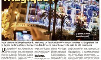 """Pour célébrer les 90 printemps du Martinez, un fascinant show """"sons et lumières"""" a drapé hier soir"""