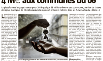 Taxe de séjour : Airbnb verse 4 millions d'€ aux communes du 06