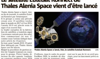 Le satellite Eutelsat Konnect de Thales Alenia Space vient d'être lancé