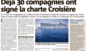 Déjà 30 compagnies ont signé la charte Croisière pour limiter la pollution des paquebots en escale à Cannes