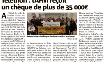 Téléthon : l'AFM reçoit un chèque de plus de 35 000 €