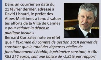 Le Préfet des Alpes-Maritimes salue les efforts de la Ville de Cannes pour réduire la dépense publique locale