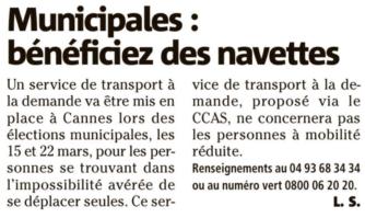 Comment bénéficier des navettes mises en place pour les élections municipales à Cannes
