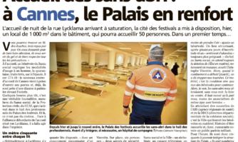 Accueil des sans-abri : à Cannes, le Palais en renfort