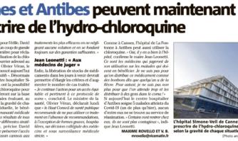 L'hôpital Simone Veil de Cannes peut maintenant prescrire de l'hydro-chloroquine