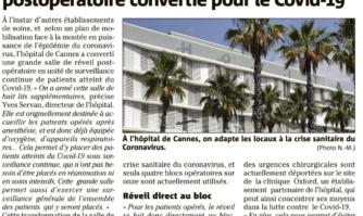 À l'hôpital de Cannes :  une salle de réveil postopératoire convertie pour le Covid-19