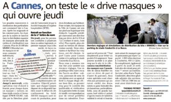 """Cannes : un """"drive masques"""" ouvert jeudi"""