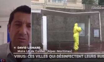 David Lisnard invité sur LCI au sujet de la désinfection méthodique des rues de Cannes