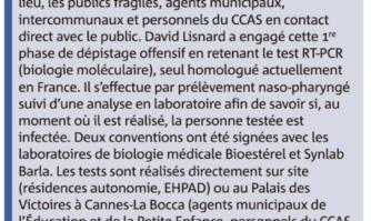 Dépistage massif du Covid-19 à Cannes