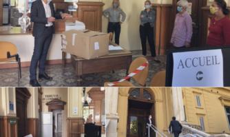 La Mairie de Cannes a remis des masques FFP2 et MMERCI aux tribunaux de proximité et de commerce de Cannes