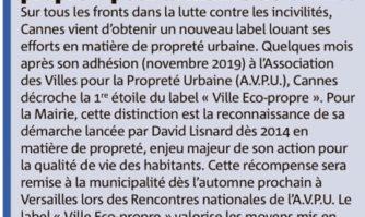 """1ère distinction du label """"Ville Eco-propre"""" pour la mairie de Cannes"""