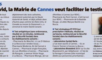 Contre la Covid, la Mairie de Cannes veut faciliter le testing pour tous