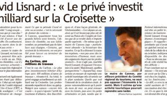 "David Lisnard : ""Le privé investit 1 milliard sur la Croisette"""