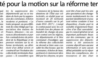 Unanimité pour la motion sur la réforme territoriale