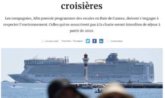 Cannes impose une charte environnementale aux navires de croisières