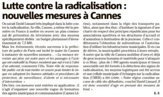 Lutte contre la radicalisation : nouvelles mesures à Cannes