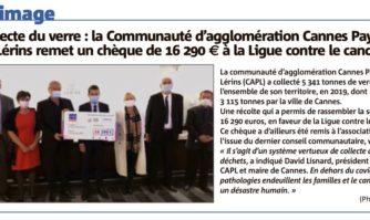 Collecte du verre : la Communauté d'agglomération Cannes Pays de Lérins remet un chèque de 16 290€ à la Ligue contre le cancer