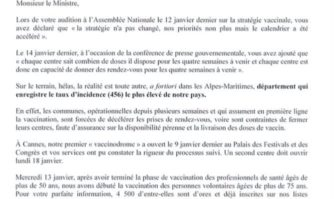 Covid-19 : David Lisnard interpelle le ministre de la Santé sur les défaillances de la vaccination