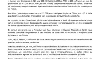 Covid-19 : les maires des Alpes-Maritimes constatent la baisse des doses pour les centres de vaccination et demandent à l'État de la visibilité