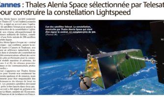 Cannes : Thales Alenia Space, sélectionnée par Telesat pour construire la constellation Lightspeed