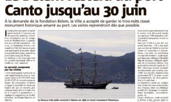 Le Belem restera au port Canto jusqu'au  30 juin