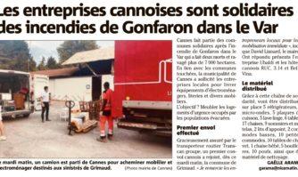 Les entreprises cannoises sont solidaires des incendies de Gonfaron dans le Var