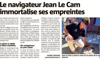 Le navigateur Jean Le Cam immortalise ses empreintes à Cannes